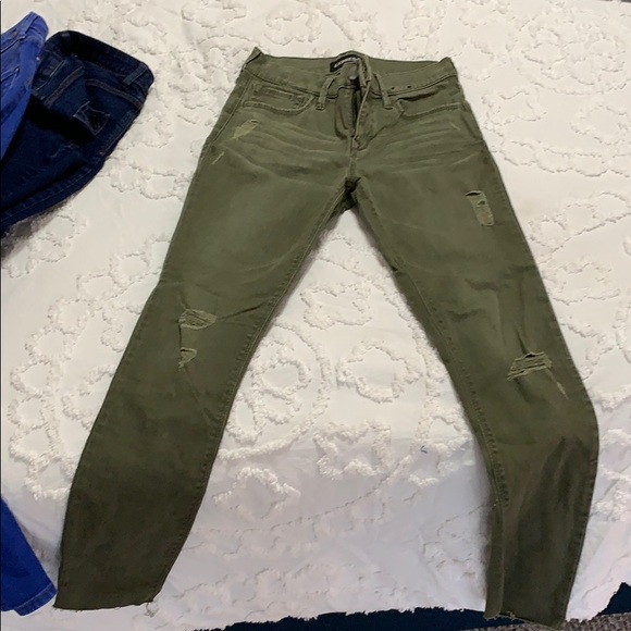 Express Denim - Express army green ankle legging mid rise